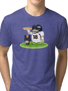 Peyton and his Bronco Tri-blend T-Shirt