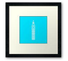 Flat icon - Big Ben White Framed Print