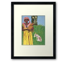 Woman with Chicken and Dog Framed Print