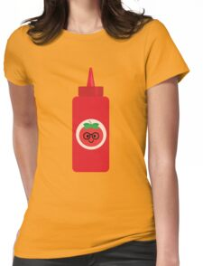 Ketchup Sauce Emoji Nerd Noob Glasses Womens Fitted T-Shirt