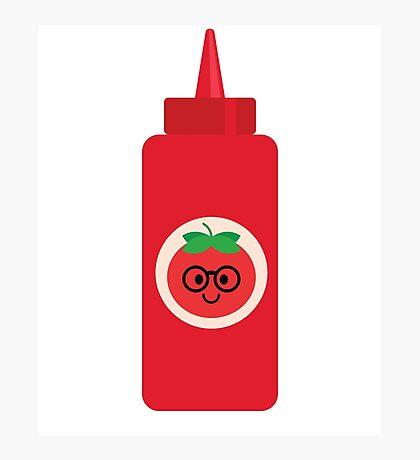 Ketchup Sauce Emoji Nerd Noob Glasses Photographic Print