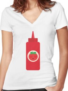 Ketchup Sauce Emoji Heart and Love Eye Women's Fitted V-Neck T-Shirt