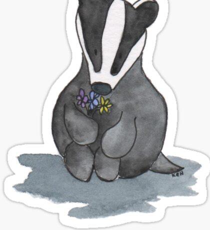 A Badger and a Bouquet Sticker