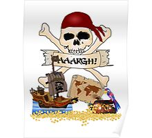 Pirate Icons - Jolly Roger, Treasure Chest, Pirate Ship Poster