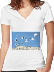 Flight Patterns Women's Fitted V-Neck T-Shirt