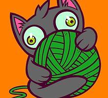 Kitty and Yarn by artdyslexia