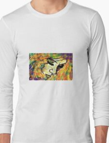 Mysterious Girl Looking Down (Coloured) Long Sleeve T-Shirt