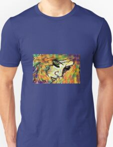 Mysterious Girl Looking Down (Coloured) T-Shirt