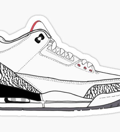"Air Jordan III (3) ""White Cement"" Sticker"