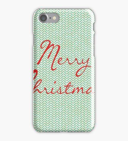 Merry Christmas Herringbone Pattern iPhone Case/Skin