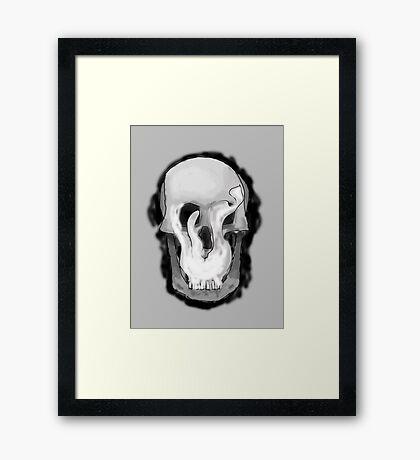 Smoking Skull- By Anton Framed Print