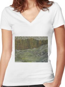 Swollen River Women's Fitted V-Neck T-Shirt