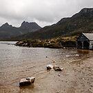 Dove Lake boathouse, Cradle Mountain, tasmania October 2014 by Odille Esmonde-Morgan