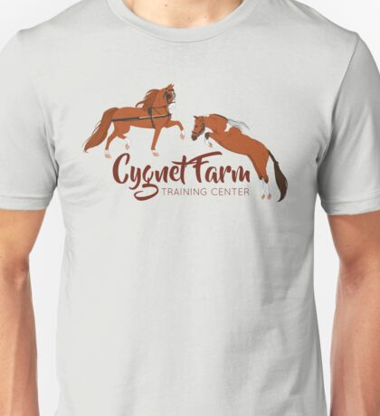 Cynet Farm Training Center - Silver Background / mini horse training driving jumping Unisex T-Shirt