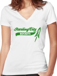 Starling City Rockets Women's Fitted V-Neck T-Shirt