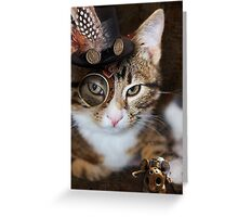 Steampunk Funny Cute Cat Greeting Card