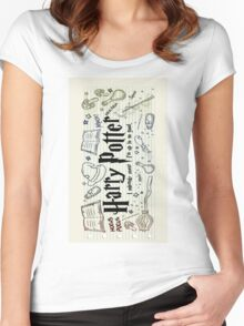 Harry Potter Collage Women's Fitted Scoop T-Shirt