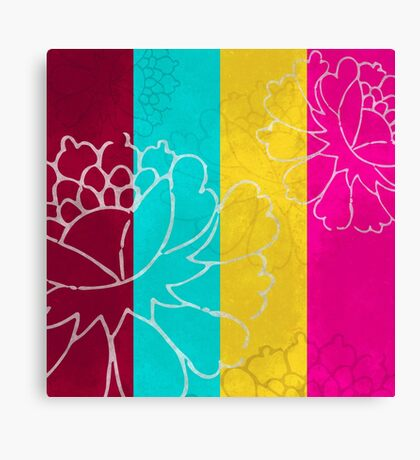 Chinese Flowers & Stripes - Pink Yellow Cyan Red Canvas Print
