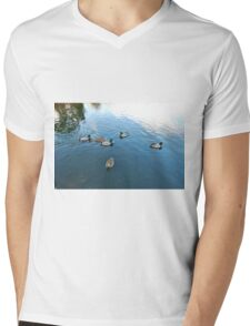 DOWN AT THE LOCAL DUCK POND. Mens V-Neck T-Shirt