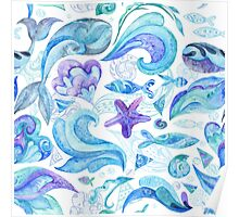 Blue Watercolor Abstract Marine Pattern Poster