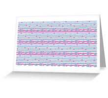Pink & Blue Stripes & Flowers Greeting Card