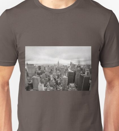 Black and white aerial view over Manhattan Unisex T-Shirt