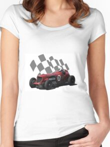 Vintage Racing Car Checkered Flag 2 Women's Fitted Scoop T-Shirt