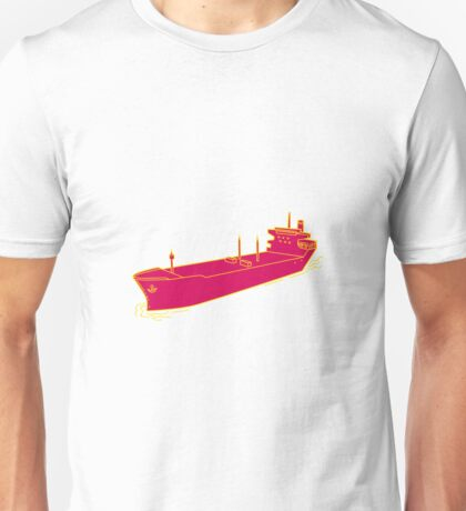 Container Ship Cargo Boat Mono Line Unisex T-Shirt