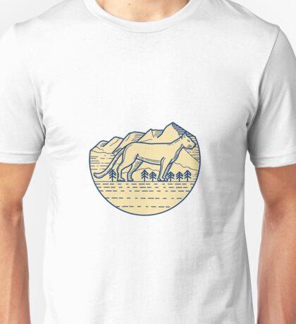 Cougar Mountain Lion Tree Mono Line Unisex T-Shirt