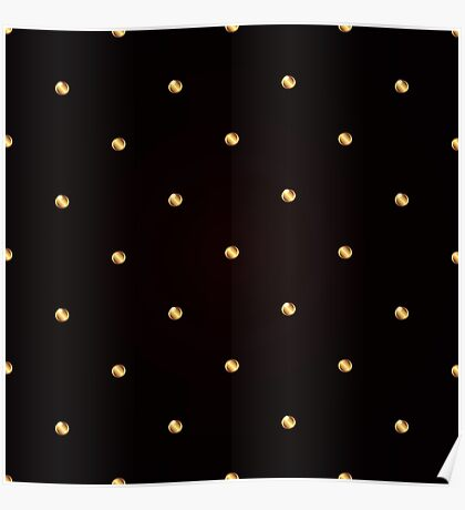Seamless pattern with gold glowing drops on black background. Poster