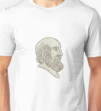 Plato Greek Philosopher Head Mono Line Unisex T-Shirt