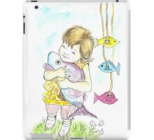 Girl with a toy-fish iPad Case/Skin