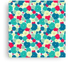 Seamless floral pattern with red, blue, green, light yellow flowers placed randomly. Canvas Print