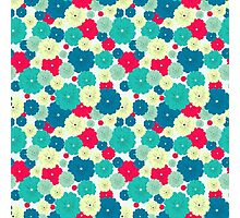 Seamless floral pattern with red, blue, green, light yellow flowers placed randomly. Photographic Print