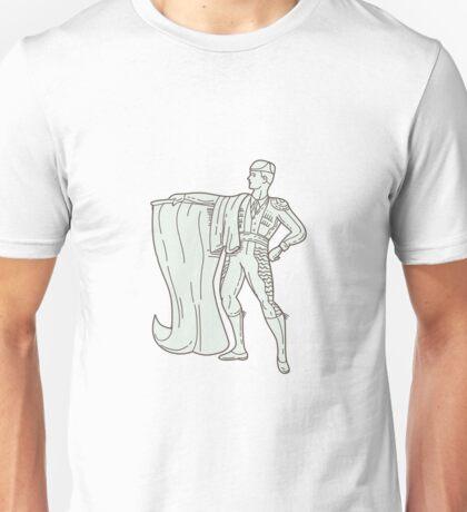 Spanish Matador Cape Standing Mono Line Unisex T-Shirt