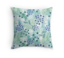 Abstract floral pattern.Blue, turquoise flowers, white dandelions on light background. Throw Pillow