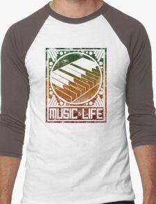 Music is Life: Piano Men's Baseball ¾ T-Shirt