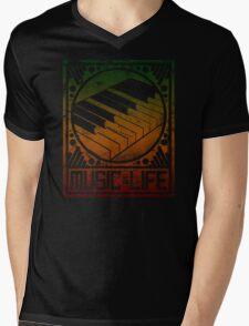 Music is Life: Piano Mens V-Neck T-Shirt