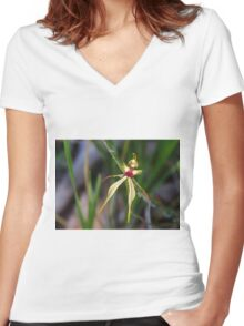 Spider Orchid Women's Fitted V-Neck T-Shirt