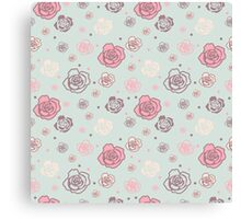 Gentle seamless pattern with big and small roses of different colors. Light blue-grey, pink and beige on light blue background. Canvas Print