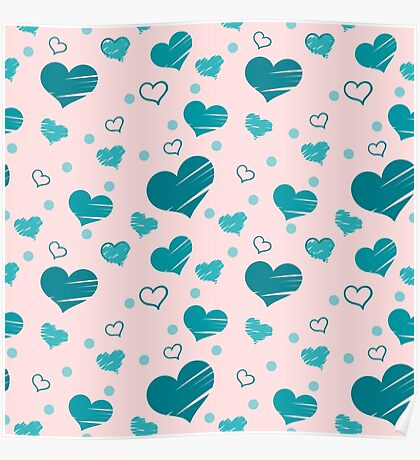 Seamless pattern with blue hearts placed randomly on pink background. Filled with brush strokes and only with outer line. Poster