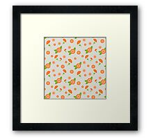 A seamless pattern with pink flowers of different sizes Framed Print