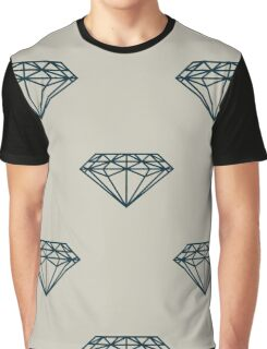 A seamless pattern with dark blue diamonds on grey background   Graphic T-Shirt