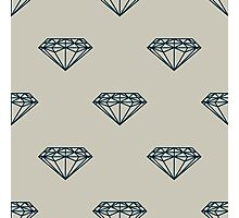 A seamless pattern with dark blue diamonds on grey background   Photographic Print