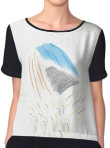 Abstract Rich Duck Chiffon Top