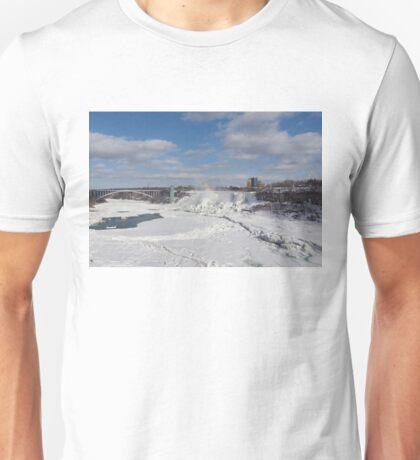 Niagara Falls Deep Freeze - Rainbow Bridge, the American Falls and a Rainbow Of Course  Unisex T-Shirt