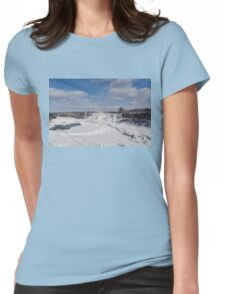 Niagara Falls Deep Freeze - Rainbow Bridge, the American Falls and a Rainbow Of Course  Womens Fitted T-Shirt