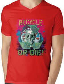Recycle or Die Earth Day Skull Mens V-Neck T-Shirt