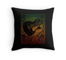 Music is Life: Guitar Throw Pillow