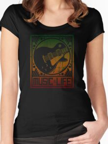 Music is Life: Guitar Women's Fitted Scoop T-Shirt